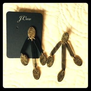 J Crew lucite statement earrings NWT gold